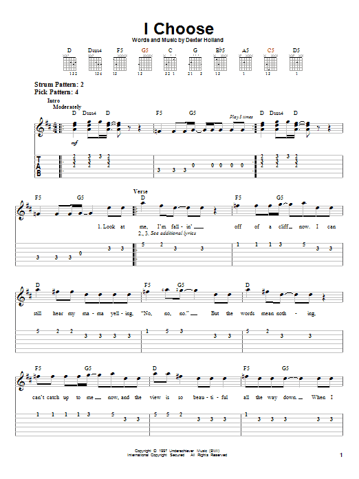 Tablature guitare I Choose de The Offspring - Tablature guitare facile