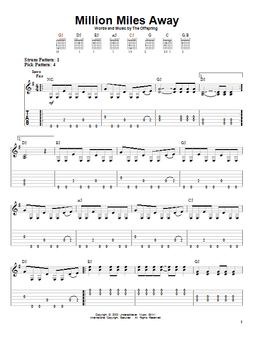 Tablature guitare Million Miles Away de The Offspring - Tablature guitare facile