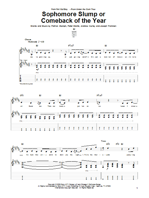 Tablature guitare Sophomore Slump Or Comeback Of The Year de Fall Out Boy - Tablature Guitare