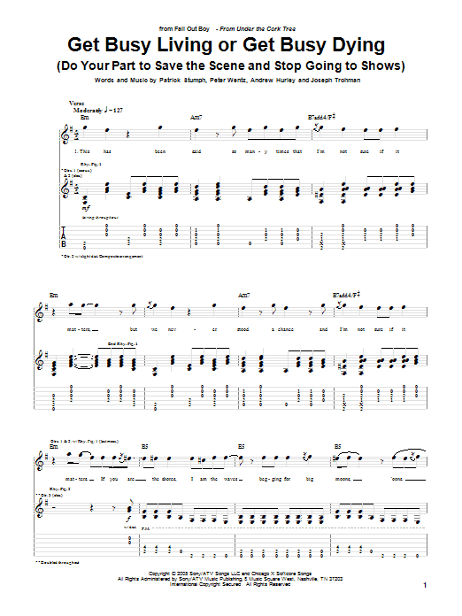 Tablature guitare Get Busy Living Or Get Busy Dying (Do Your Part To Save The Scene And Stop Going To Shows) de Fall Out Boy - Tablature Guitare