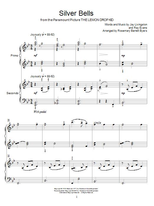 Partition piano Silver Bells (from The Lemon Drop Kid) de John Denver - 4 mains