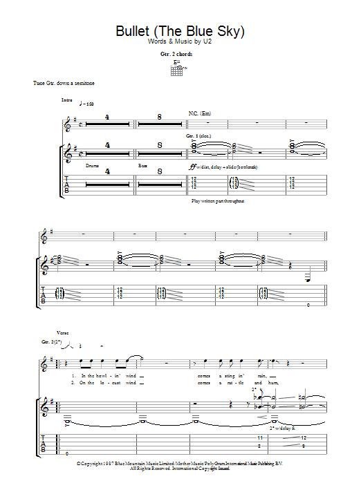 Bullet The Blue Sky (Guitar Tab)