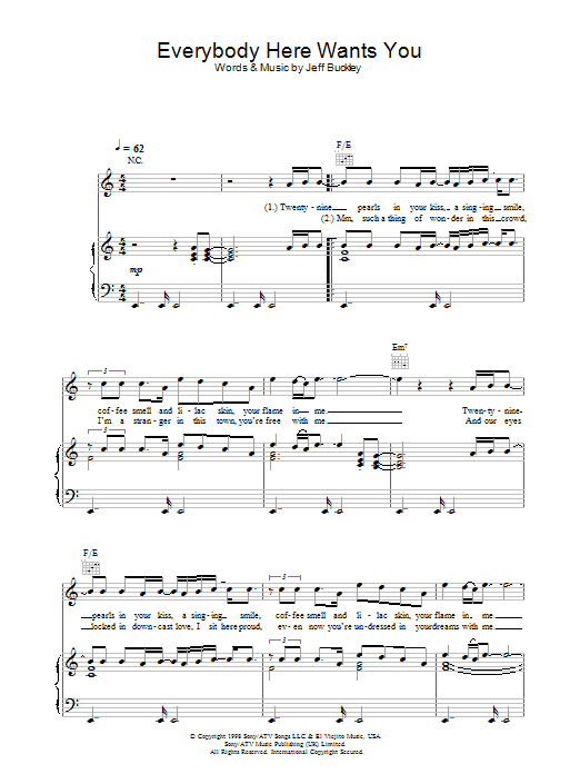 Everybody Here Wants You Sheet Music