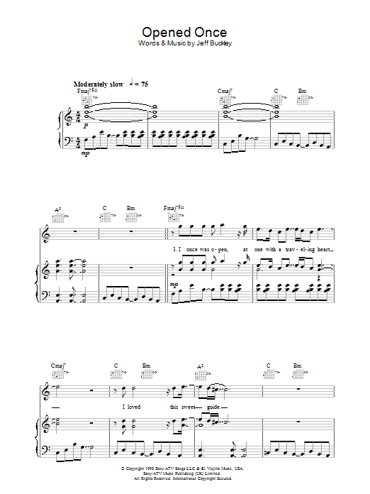 Opened Once (Piano, Vocal & Guitar)