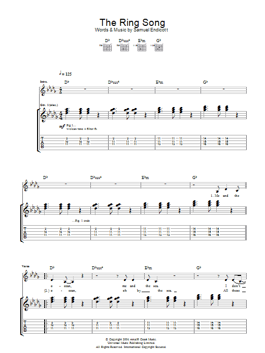 The Ring Song Sheet Music