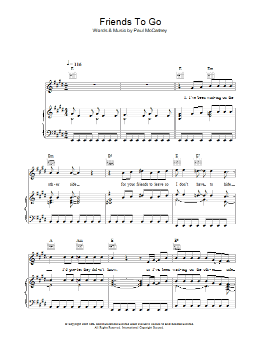 Friends To Go Sheet Music