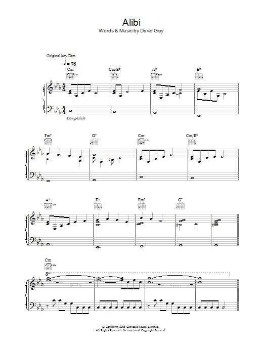 Alibi (Piano, Vocal & Guitar)