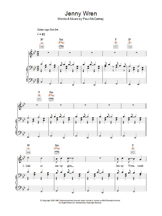 Jenny Wren Sheet Music