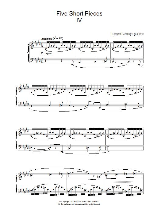Five Short Pieces, No. 4, Op. 4 (Piano Solo)