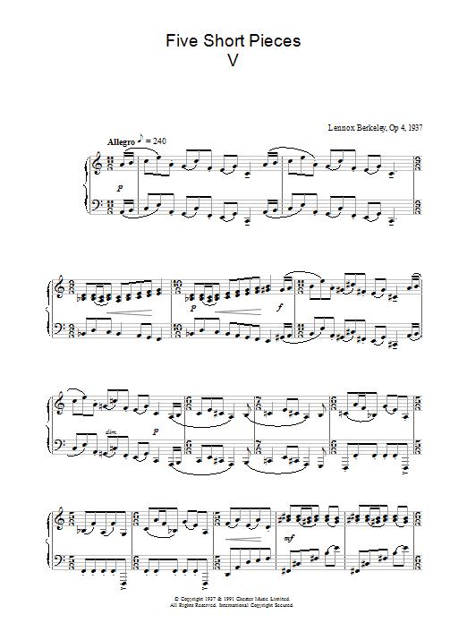 Five Short Pieces, No. 5, Op. 4 (Piano Solo)