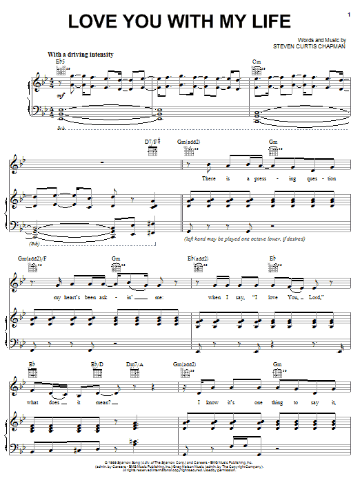 Partition piano Love You With My Life de Steven Curtis Chapman - Piano Voix Guitare (Mélodie Main Droite)