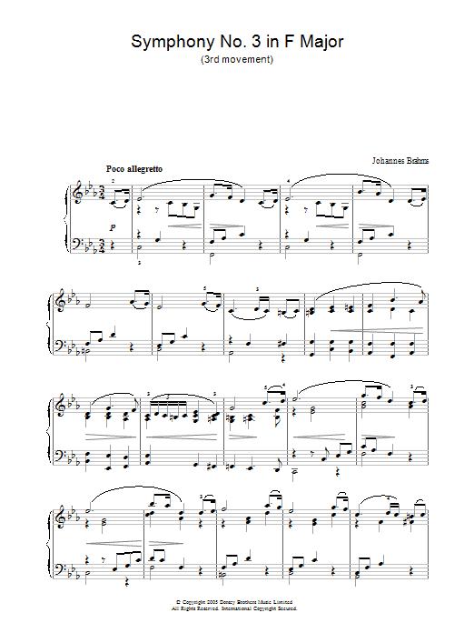 Symphony No. 3 In F Major (3rd movement: Poco allegretto) Sheet Music