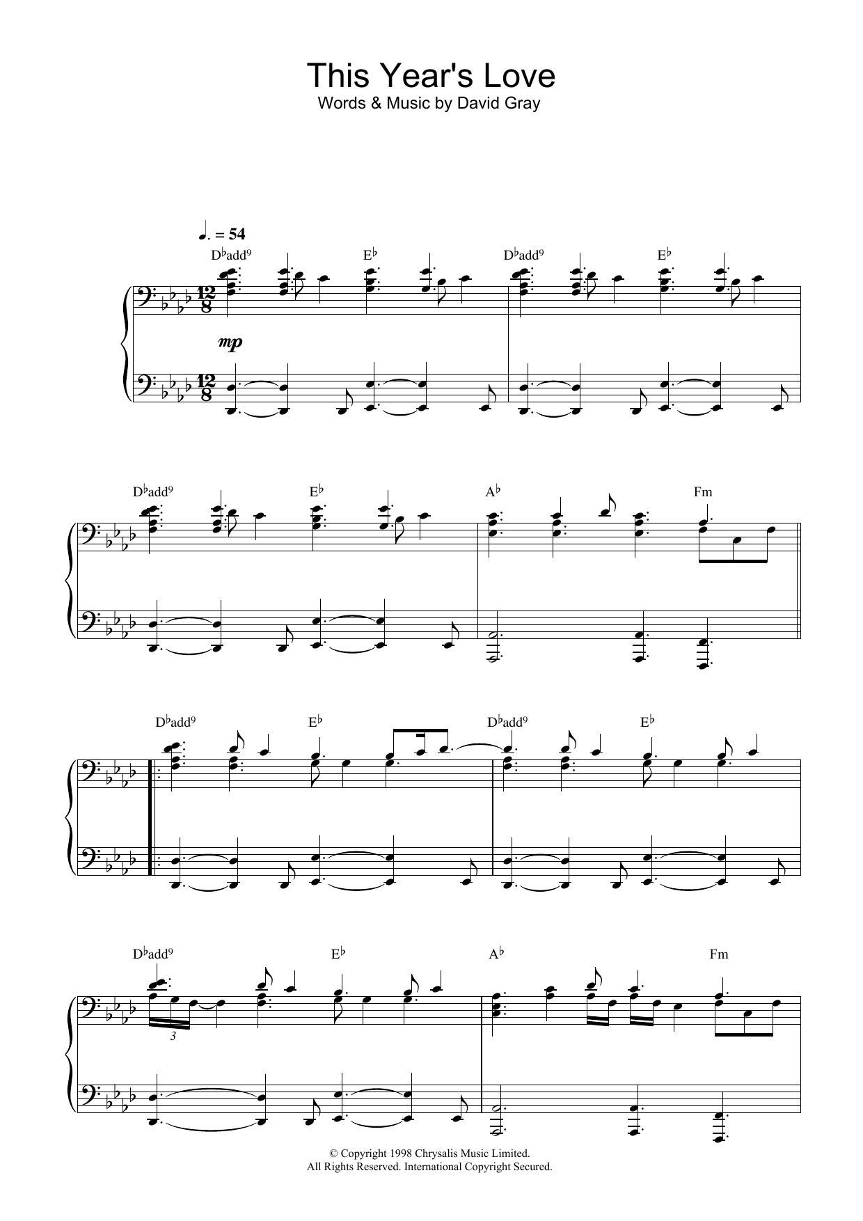 This Year's Love (Piano Solo)