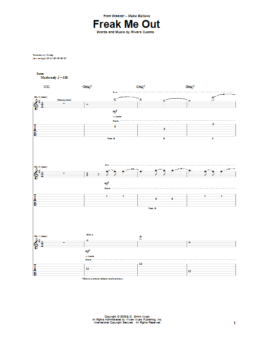 Tablature guitare Freak Me Out de Weezer - Tablature Guitare