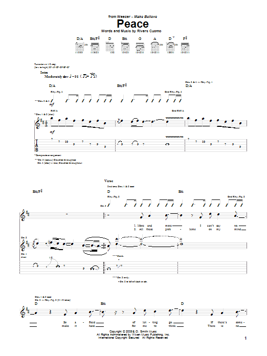 Tablature guitare Peace de Weezer - Tablature Guitare