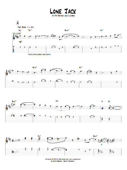 Tablature guitare Lone Jack de Pat Metheny - Tablature Guitare
