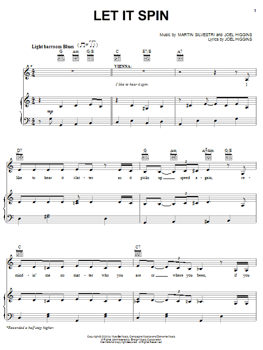 Let It Spin (from Johnny Guitar) Sheet Music