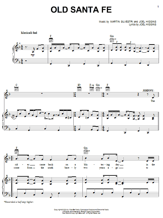 Partition piano Old Santa Fe (from Johnny Guitar) de Joel Higgins - Piano Voix Guitare (Mélodie Main Droite)