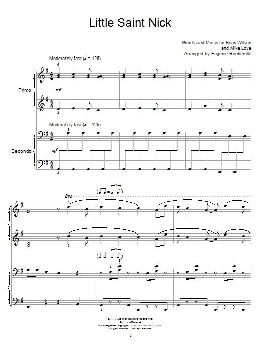 Partition piano Little Saint Nick de The Beach Boys - 4 mains