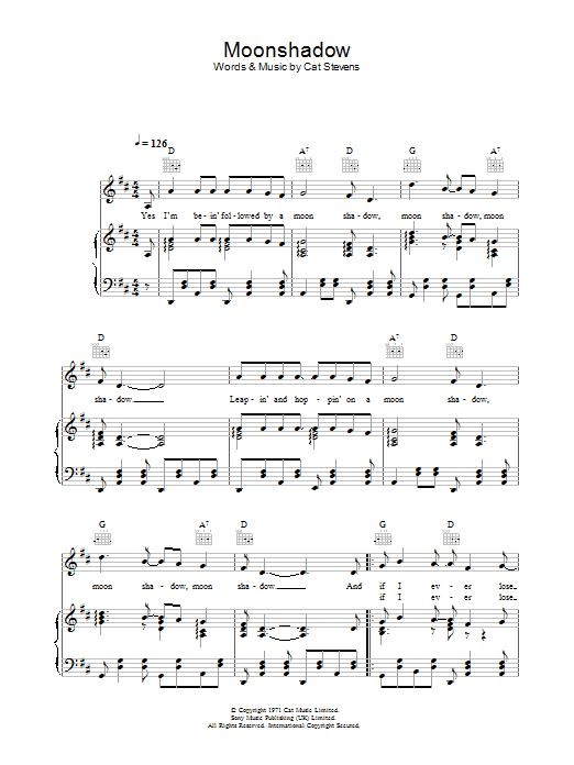 Moonshadow (Piano, Vocal & Guitar)