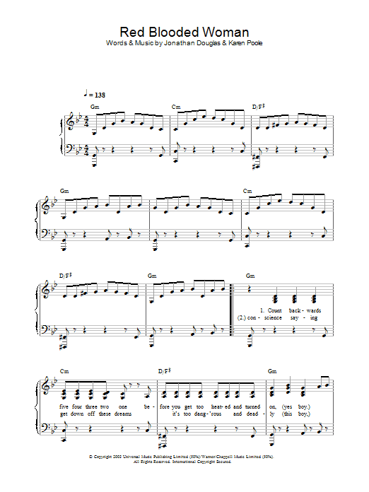 Red Blooded Woman (Piano, Vocal & Guitar)