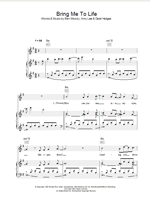 Bring Me To Life Sheet Music Direct