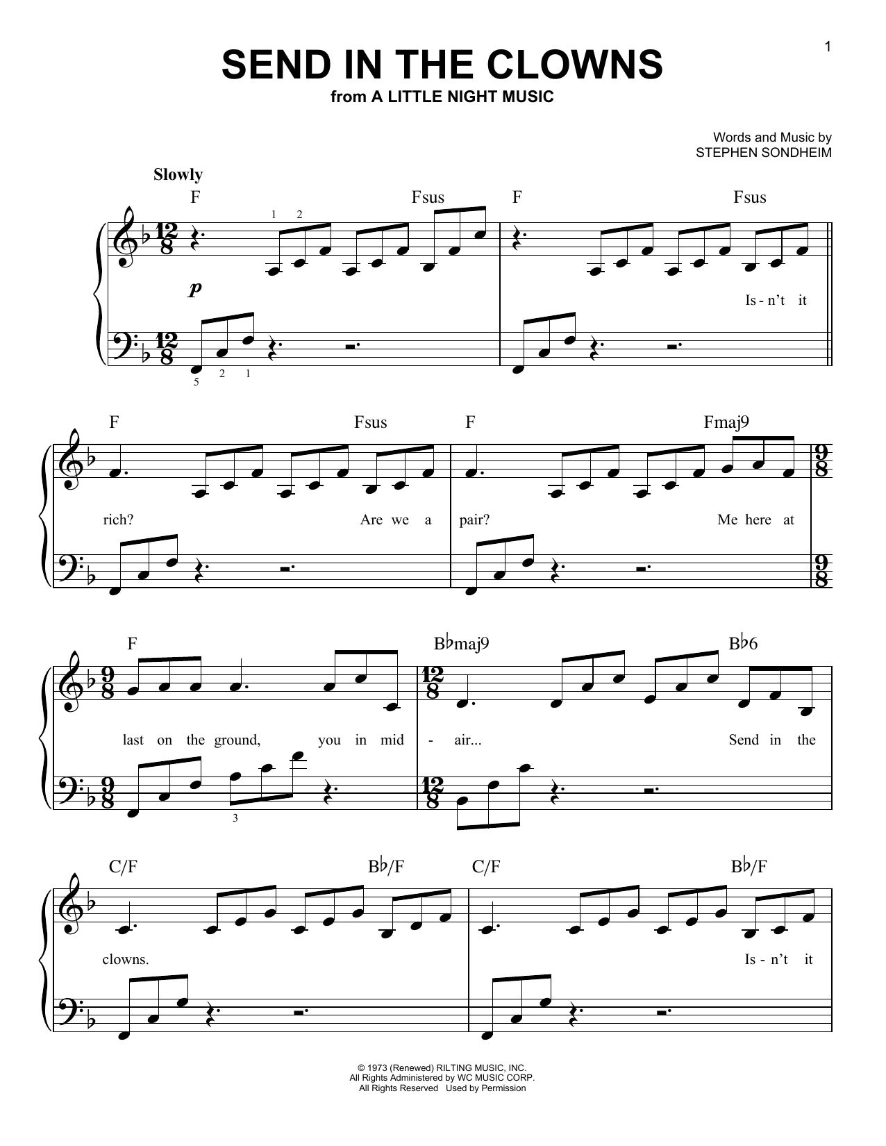Partition piano Send In The Clowns de Stephen Sondheim - Piano Facile