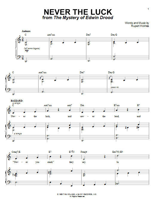 Never The Luck Sheet Music