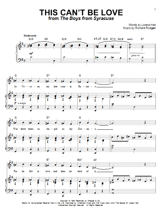 This Can't Be Love Sheet Music