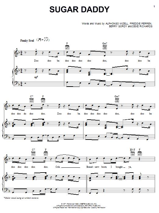 Partition piano Sugar Daddy de The Jackson 5 - Piano Voix Guitare (Mélodie Main Droite)