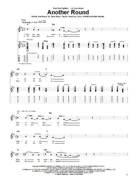 Tablature guitare Another Round de Foo Fighters - Tablature Guitare
