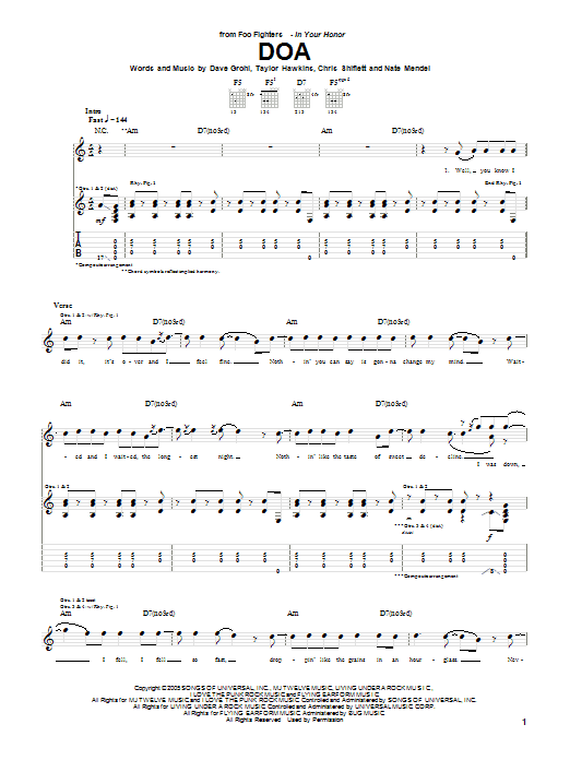 Tablature guitare DOA de Foo Fighters - Tablature Guitare