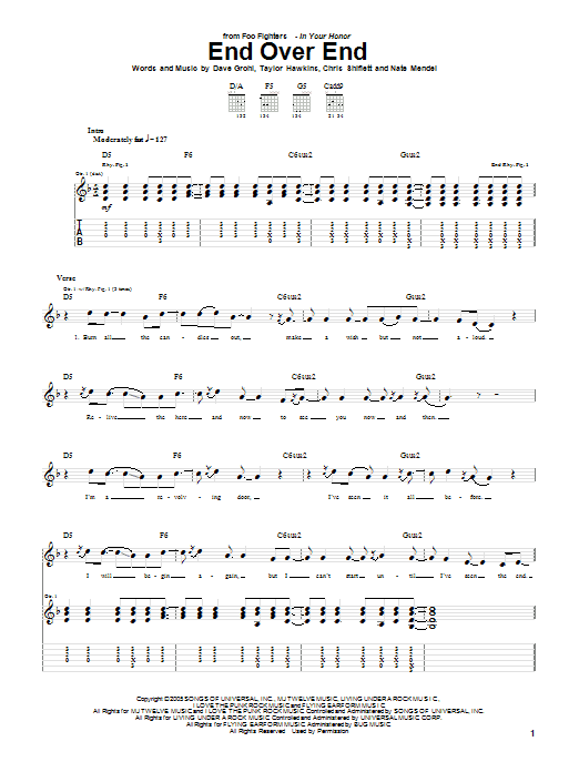Tablature guitare End Over End de Foo Fighters - Tablature Guitare
