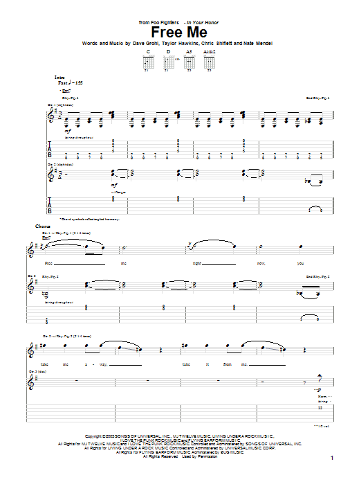 Tablature guitare Free Me de Foo Fighters - Tablature Guitare