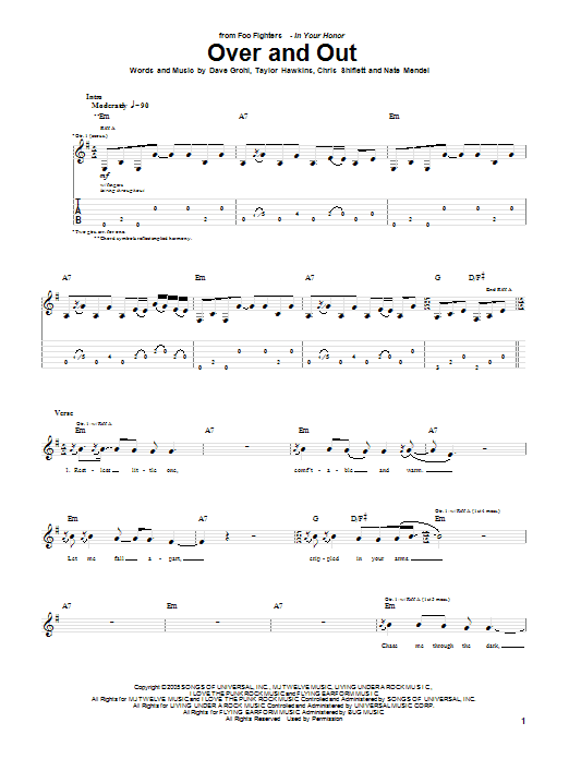 Tablature guitare Over And Out de Foo Fighters - Tablature Guitare