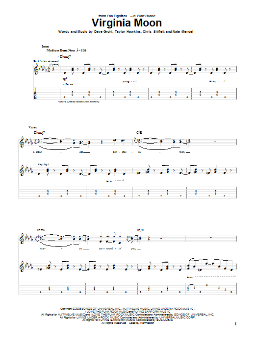 Tablature guitare Virginia Moon de Foo Fighters - Tablature Guitare