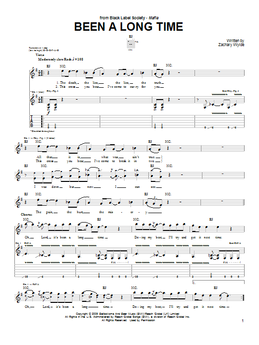 Tablature guitare Been A Long Time de Black Label Society - Tablature Guitare