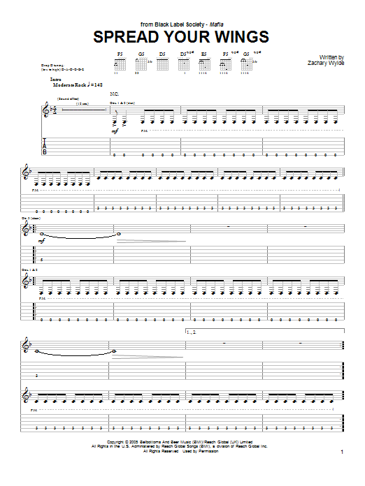 Tablature guitare Spread Your Wings de Black Label Society - Tablature Guitare