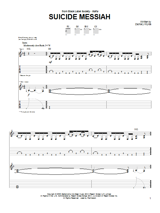 Suicide Messiah (Guitar Tab)