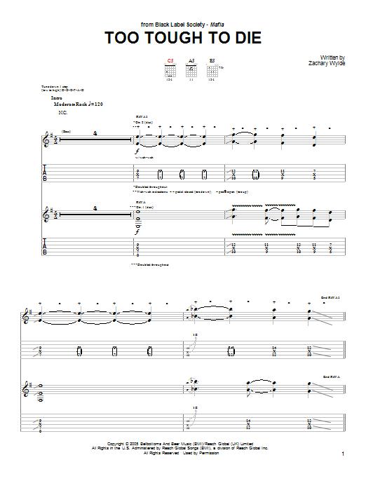 Tablature guitare Too Tough To Die de Black Label Society - Tablature Guitare