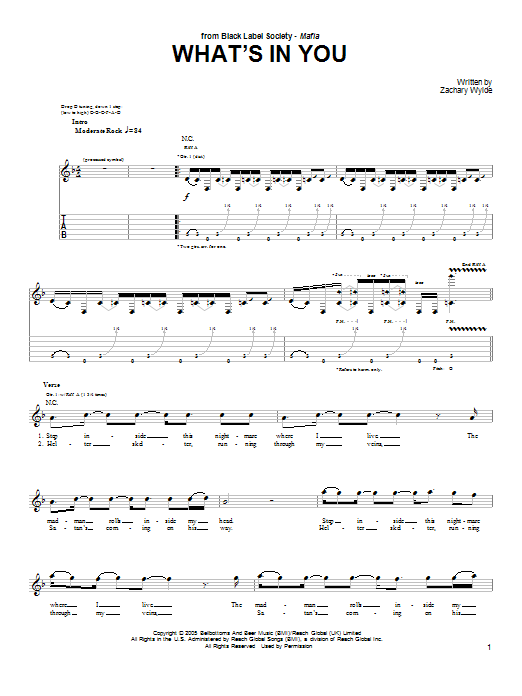 Tablature guitare What's In You de Black Label Society - Tablature Guitare