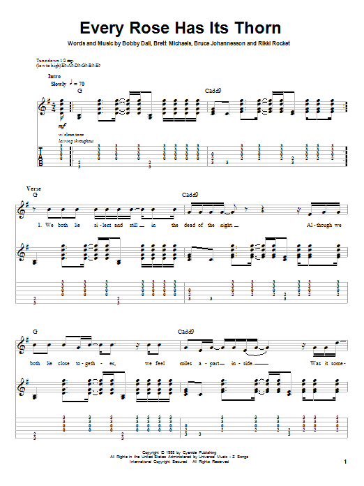 Every Rose Has Its Thorn (Guitar Tab (Single Guitar))