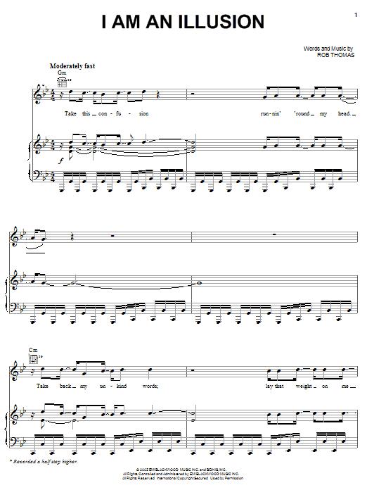 Partition piano I Am An Illusion de Rob Thomas - Piano Voix Guitare (Mélodie Main Droite)