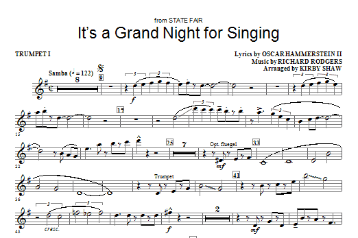 It's A Grand Night For Singing (complete set of parts) sheet music for orchestra/band (chamber ensemble) by Kirby Shaw, Oscar II Hammerstein and Richard Rodgers. Score Image Preview.