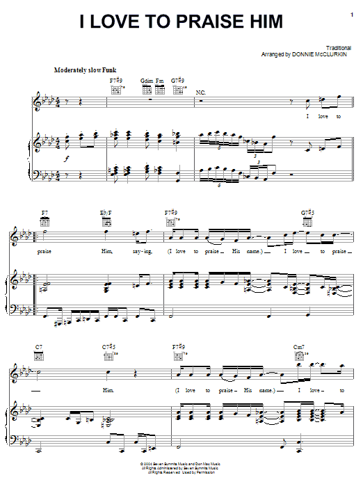 Partition piano I Love To Praise Him de Donnie McClurkin - Piano Voix Guitare (Mélodie Main Droite)