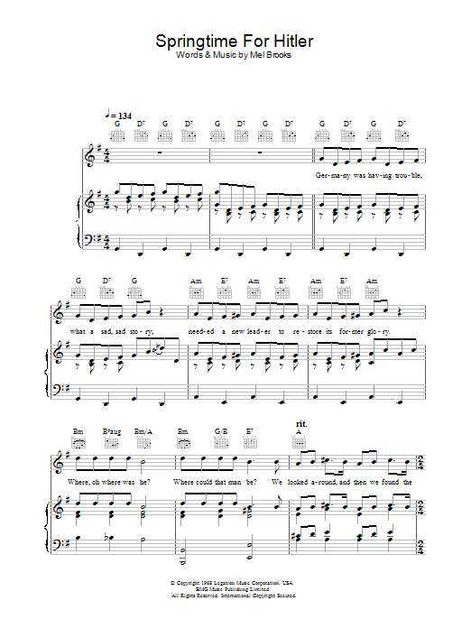 Springtime For Hitler (from The Producers) (Piano, Vocal & Guitar)