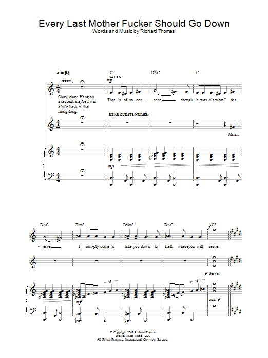 Every Last Mother Fucker Should Go Down (from Jerry Springer The Opera) Sheet Music