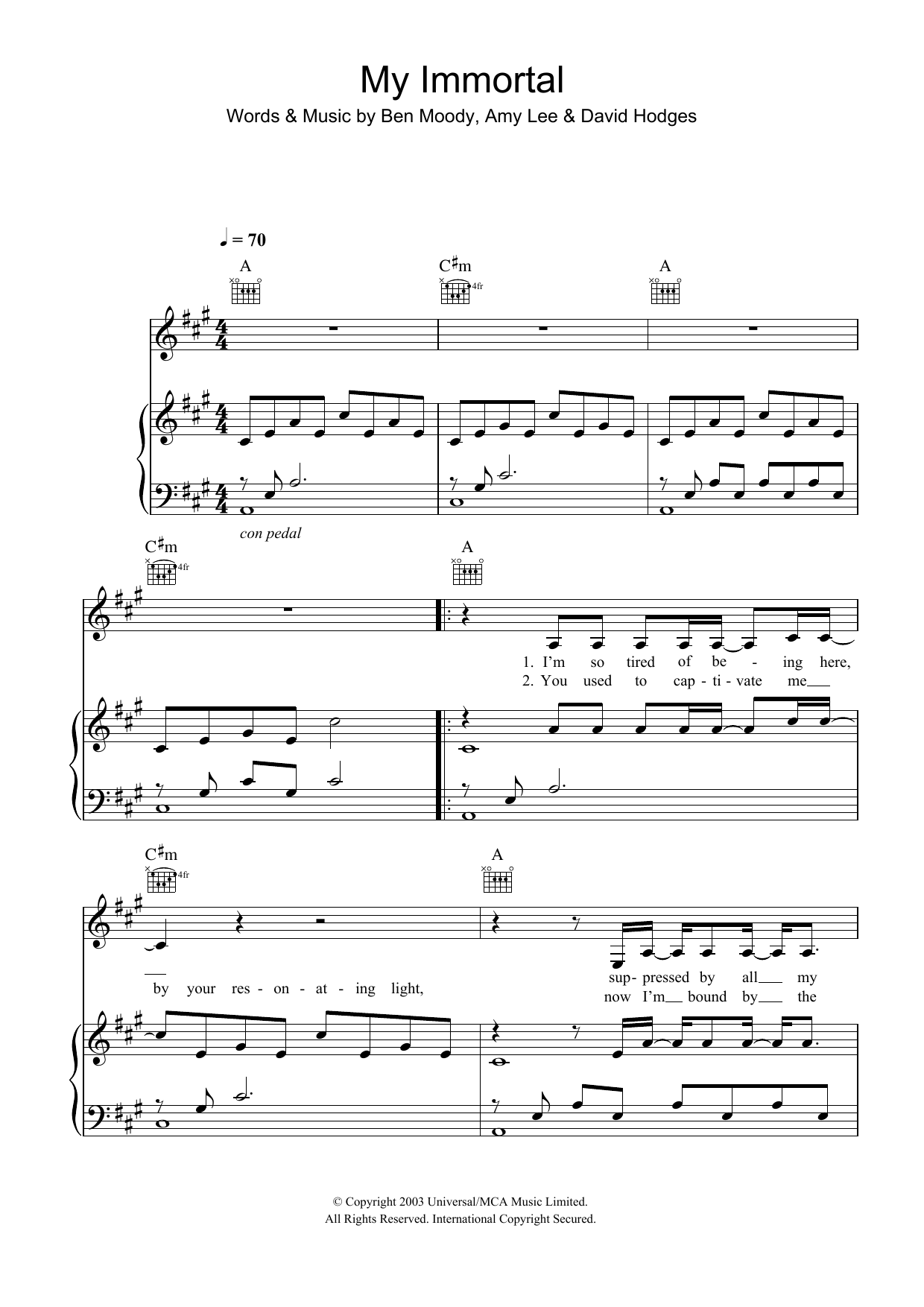 My Immortal (Piano, Vocal & Guitar (Right-Hand Melody))