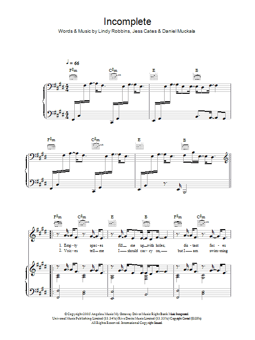 Incomplete Sheet Music