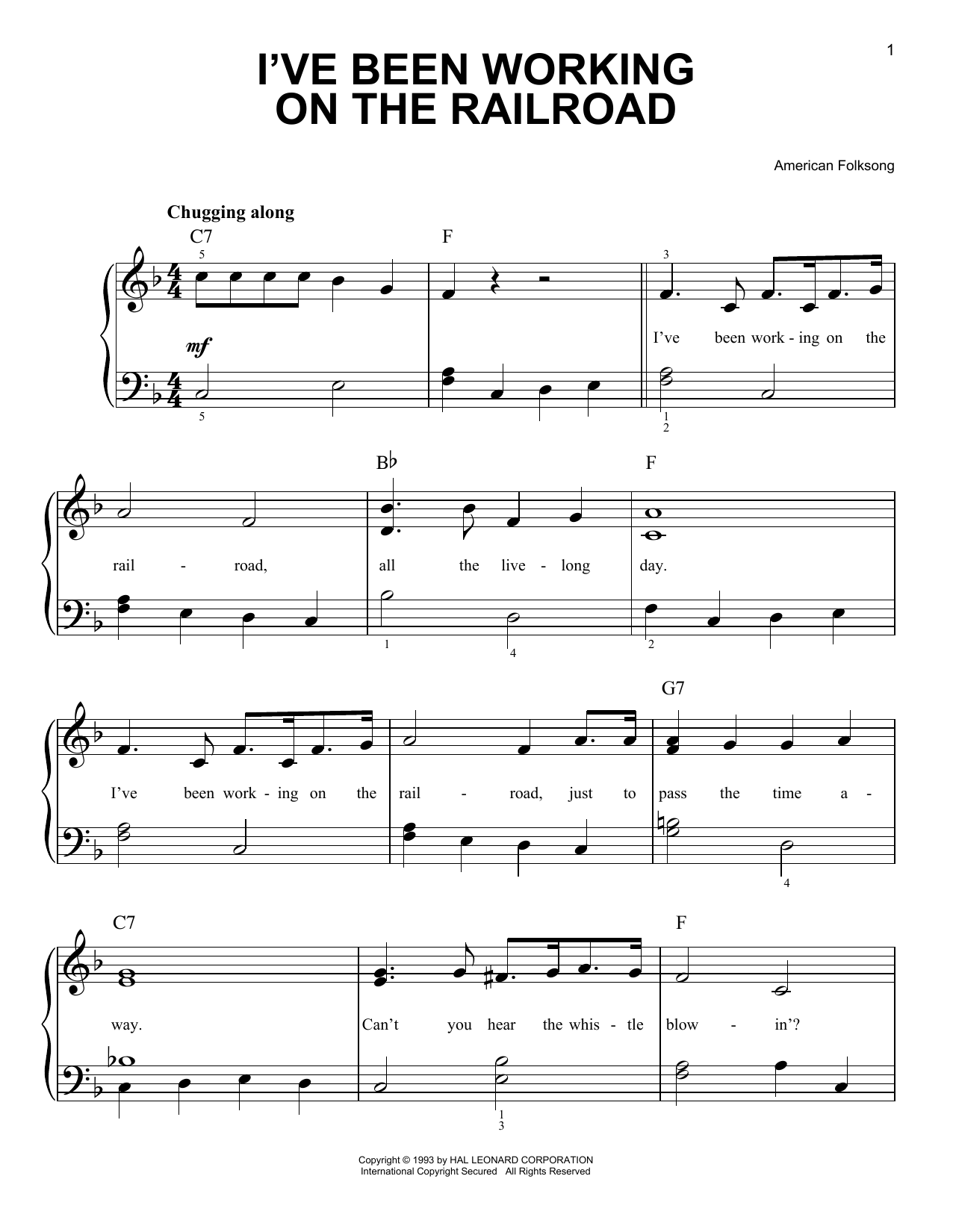 Partition piano I've Been Working On The Railroad de American Folksong - Piano Facile